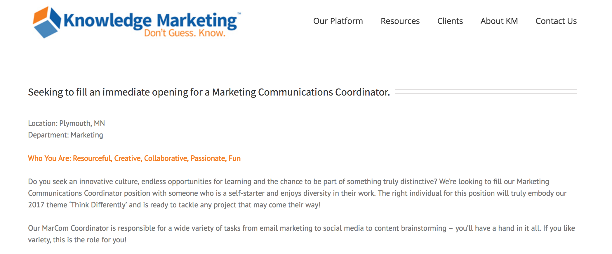 Marketing Communications Specialist Job Description